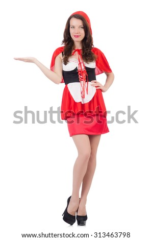 Little red riding hood isolated on white - stock photo
