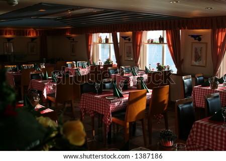 little restaurant on boat - stock photo