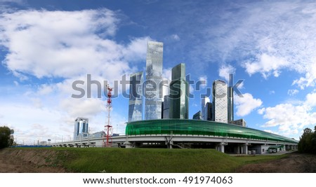 Little Ring of the Moscow Railways and skyscrapers of the International Business Center (City), Russia. Delovoy Tsentr  railway station