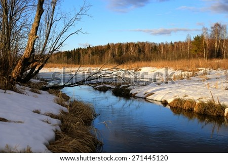 little river near the forest in the winter afternoon  - stock photo