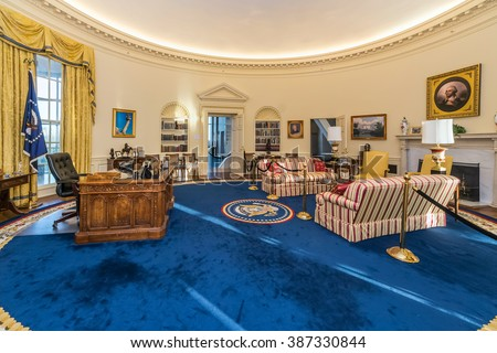 pictures of oval office. Little Rock, AR/USA - Circa February 2016: Replica Of White House\u0027s Oval Pictures Office