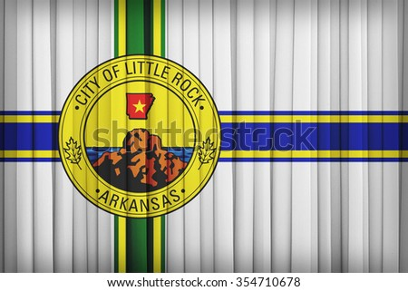 Little Rock ,Arkansas flag pattern on the fabric curtain,vintage style - stock photo