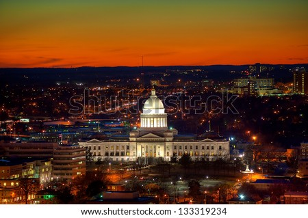 Little Rock Capitol and city lights after sunset. - stock photo