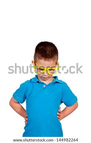 Little sad boy isolated on white background - stock photo