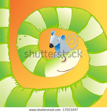 little sad mouse sitting on nose of hungry snake raster version - stock photo