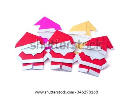Little Santa Claus color paper on white background