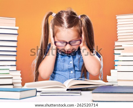 Little scholar girl with pile of books yelling - stock photo