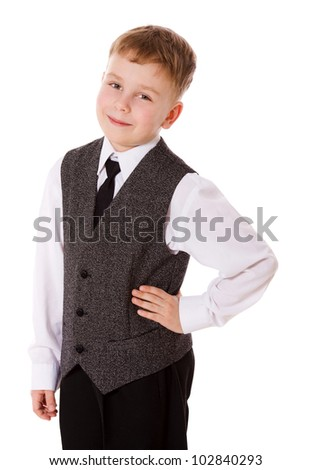 little School boy portrait isolated on white