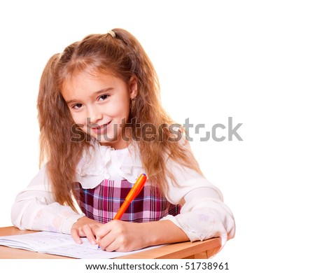Little School Girl Doing Homework - stock photo
