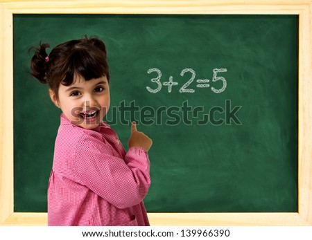 little school girl with green chalkboard and text