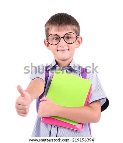 Little schoolboy isolated on white - stock photo