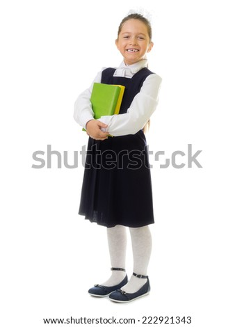 Little schoolgirl isolated on white