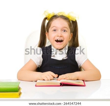 Little schoolgirl isolated on white - stock photo