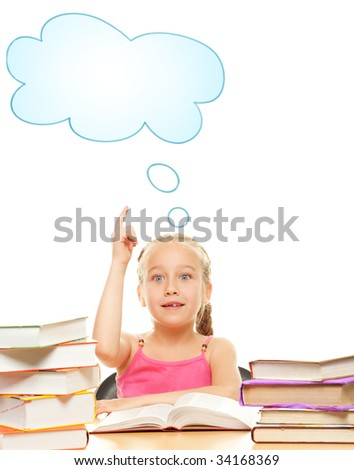 Little schoolgirl raised her hand to answer question - stock photo