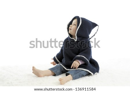 little seated baby , isolated on white background