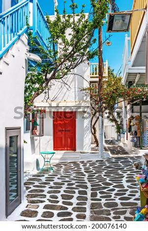 Little shopping street in Mykonos old town, Cyclades, Greece - stock photo