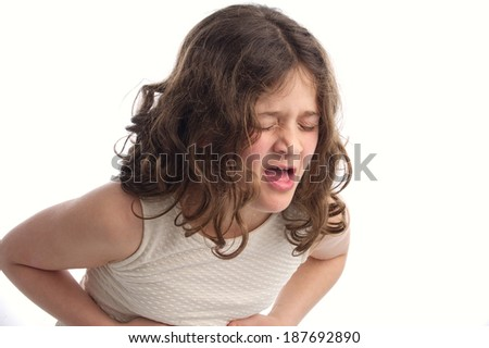 Little Sick Girl Coughing isolated on white