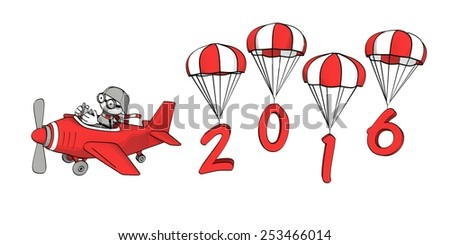 little sketchy man flying in a red plane and the year 2016 on parachutes - stock photo