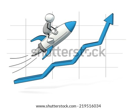 little sketchy man flying on a blue rocket up an increasing chart - stock photo