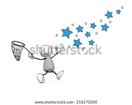 little sketchy man hunting stars with a net - stock photo