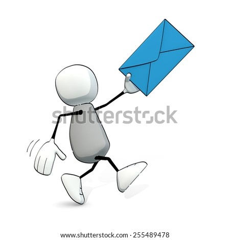 little sketchy man hurrying with a blue letter - stock photo