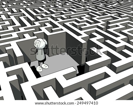 little sketchy man lost in a maze - stock photo