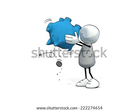 little sketchy man - no money in the piggy bank - stock photo