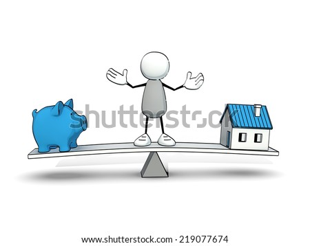 little sketchy man on a rocker with piggy bank and blue house - stock photo