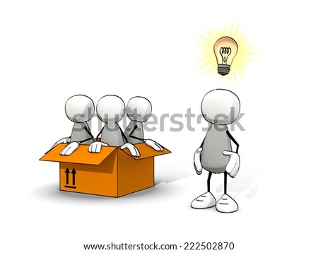 little sketchy man - thinking outside of the box - stock photo