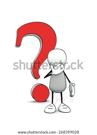 little sketchy man with big red question mark - stock photo