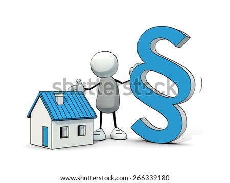 little sketchy man with blue house and paragraph - stock photo