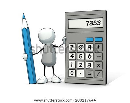 little sketchy man with calculator and pencil - stock photo