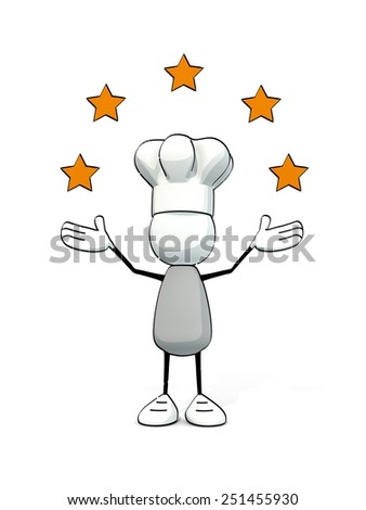 little sketchy man with chef's cap and five stars - stock photo