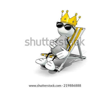 little sketchy man with king crown and sunglasses in a deck chair - stock photo