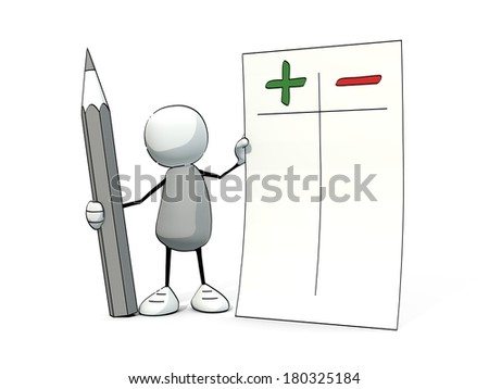 little sketchy man with pencil arguing pro and con - stock photo
