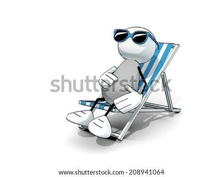 little sketchy man with sunglasses in a deck chair - stock photo