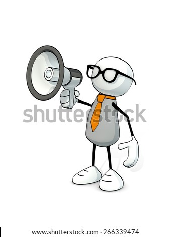 little sketchy man with tie and glasses and megaphone - stock photo