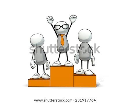 little sketchy man with tie and glasses on winner's pedestal - stock photo