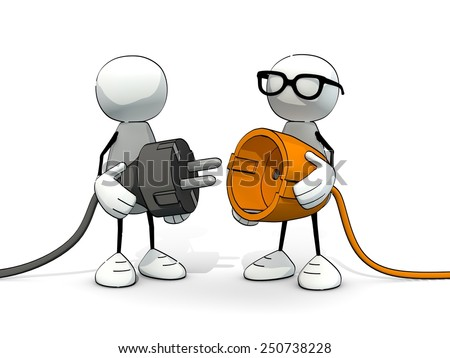 little sketchy men with grey plug and orange socket - stock photo