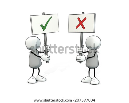little sketchy men with hook and cross sign - stock photo