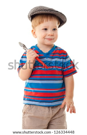 Little smiling boy in cap with wrench, isolated on white - stock photo
