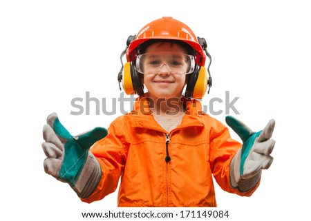 Little smiling child boy engineer or manual worker in safety hardhat helmet and gloves white isolated - stock photo