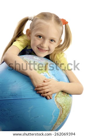 Little Smiling Girl Embracing the Globe at the White Background - stock photo