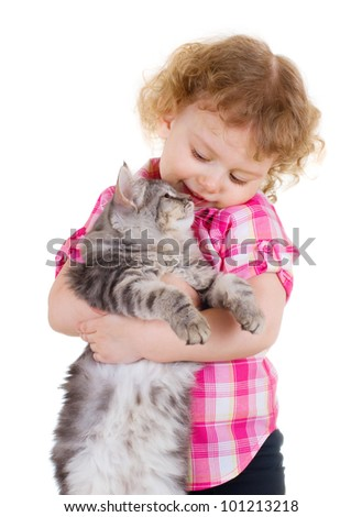 Little smiling girl holding a cat on white background - stock photo