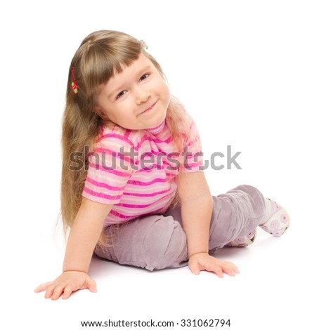Little smiling girl isolated on white - stock photo