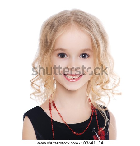 Little smiling girl with curly blond hair isolated on white background - stock photo