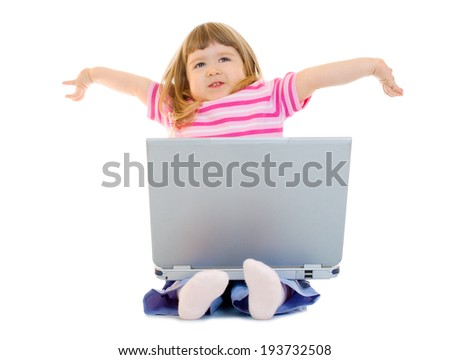Little smiling girl with laptop isolated - stock photo
