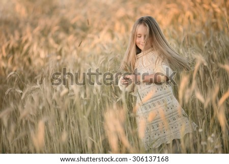 little smiling pretty girl with long blond hair standing in the field of wheat of corn and dancing at summer time at sunset - stock photo
