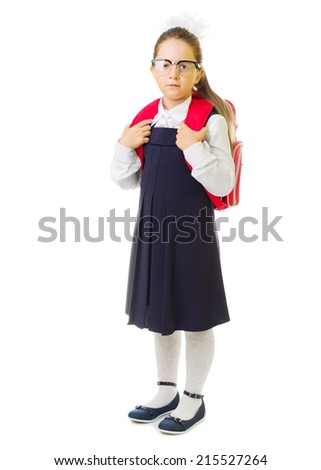 Little smiling schoolgirl isolated on white - stock photo