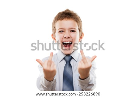 Little smiling young businessman child boy hand gesturing middle finger obscene sign for negative attitude white isolated - stock photo